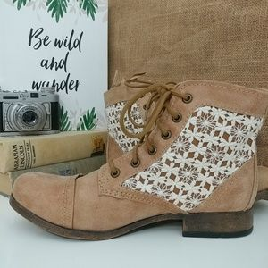 Chelsea lace up crochet ankle boots